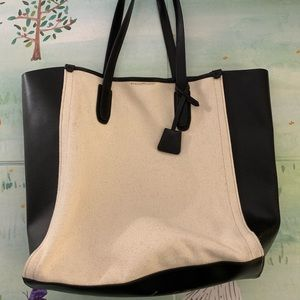 J. crew leather and canves tote